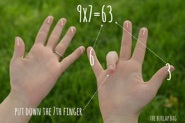 """Легкий способ умножения на 9 ☝ С этим методом дети научатся делать это буквально на пальцах. Поверните кисти ладонями к себе и мысленно пронумеруйте пальцы по порядку слева направо, от 1 до 10. Теперь умножаем, например, 7х9. Загибаем седьмой палец. Все то, что идет до пальца №7 – это десятки, в нашем примере это """"6"""". А все то, что остается после пальца №7 – единицы, то есть """"3"""". В итоге получаем 63. Сохраните себе, чтобы не потерять ✔"""