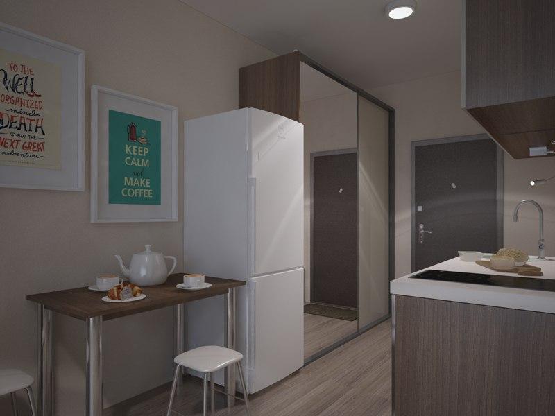 Концепт квартиры 27 м от компании Новый Дом – застройщика ЖК Изумрудный, Владивосток.
