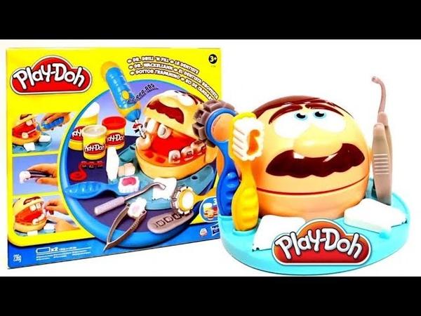 Лечим зубы,Play Doh Мистер Зубастик.Играем в дантиста. Наборы ПлэйДо. Масса для лепки.Мультик