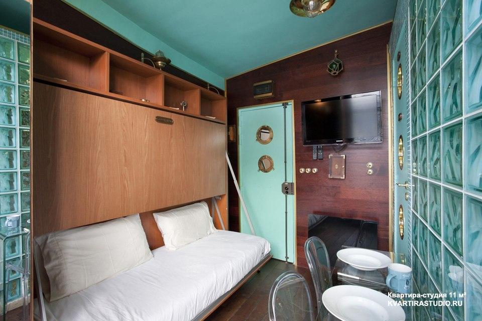 Интерьер микро-студии 11 м под каюту корабля в Париже / Франция - http://kvartirastudio.