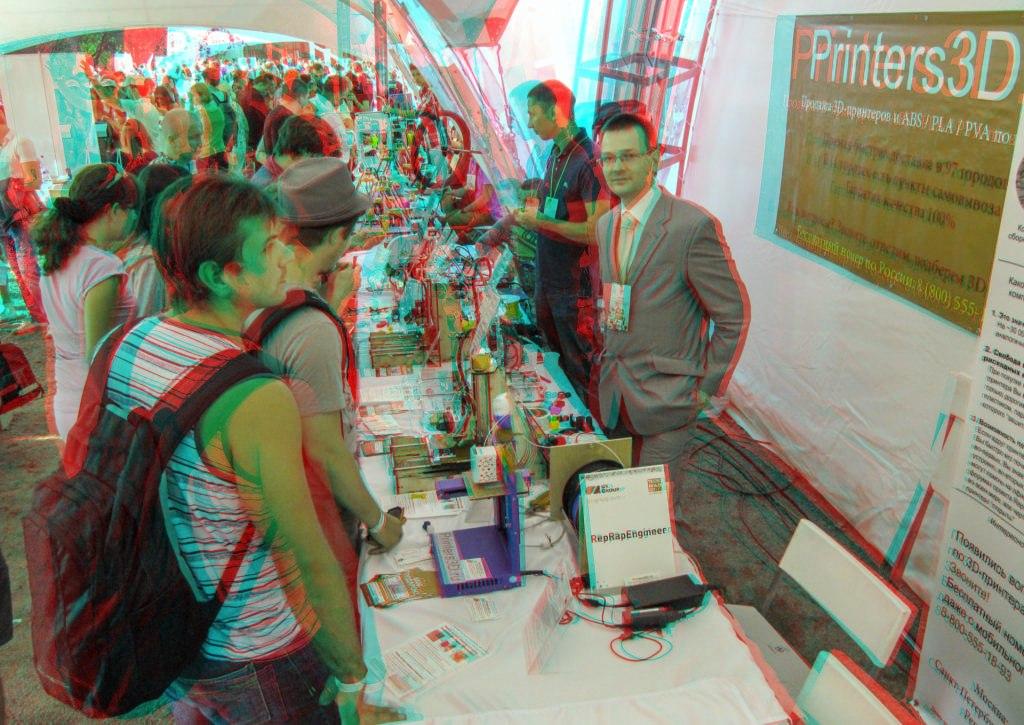 Стенд компании Printers3D.ru на выставке Geek Picnic в стерео