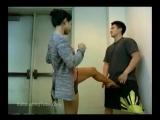 asian girl busts friends balls