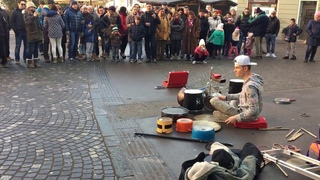 Drummer with improvised drums