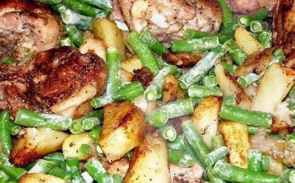 Сытный ужин  Ингредиенты: 2 куриных окорочка 10