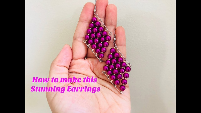 Quick Easy to make earrings out of pearls 💞DIY beaded earrings craft jewelry Jewelry making