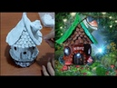 DIY fairy house with lamp using jar