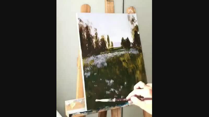 Рисунок красками Природа