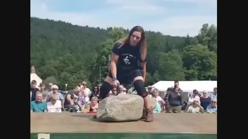 Leigh Holland-Keen, a nurse by trade, was the second woman to lift Scotland's legendary Dinnie Stones, rocks weighing a combined