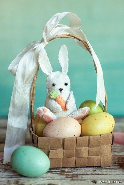 Фетровый пасхальный кролик. (9 фото) - картинка