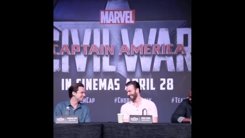 Chris Evans, Sebastian Stan and Anthony Mackie promoting Captain America: Civil War