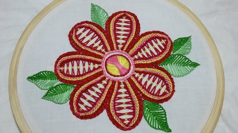 Hand embroidery of a flower