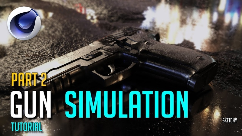 Cinema 4D Tutorial - Realistic Gun Simulation (Octane Render) (PART 2)
