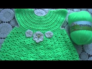 Детское платье крючком из пряжи Vita Dolly