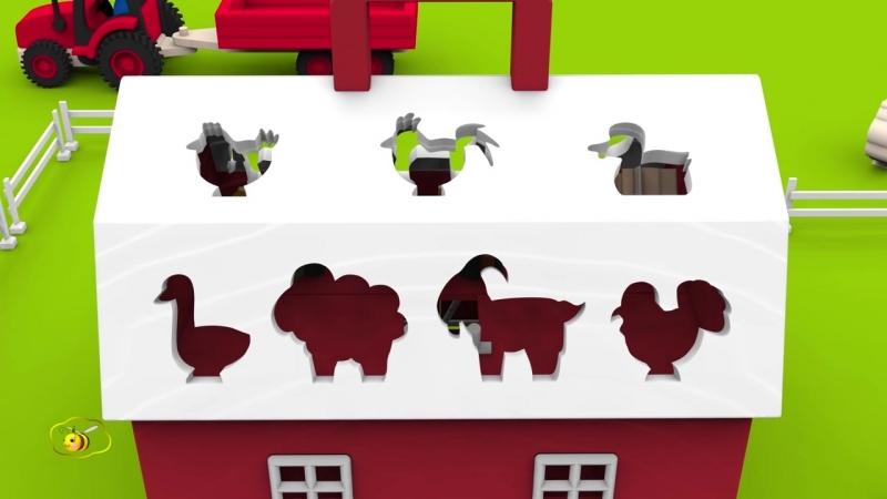 Мультики про машинки Трактор на ферме Домашние животные для детей_ учим названия