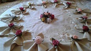 ورودالستان لتزيين المائدة comment décorer la table en ruban satin