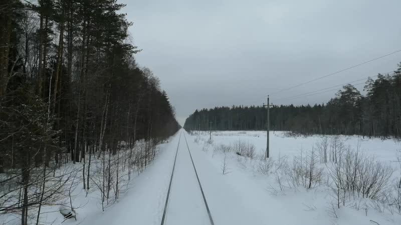 Вид из окна поезда Зимняя Мещера Владимирская область
