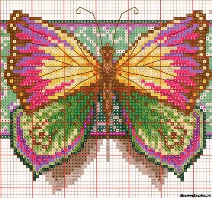 Вышивка крестом. Бабочки.