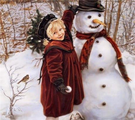 Новорічна листівка дівчинка сніговик і заєць