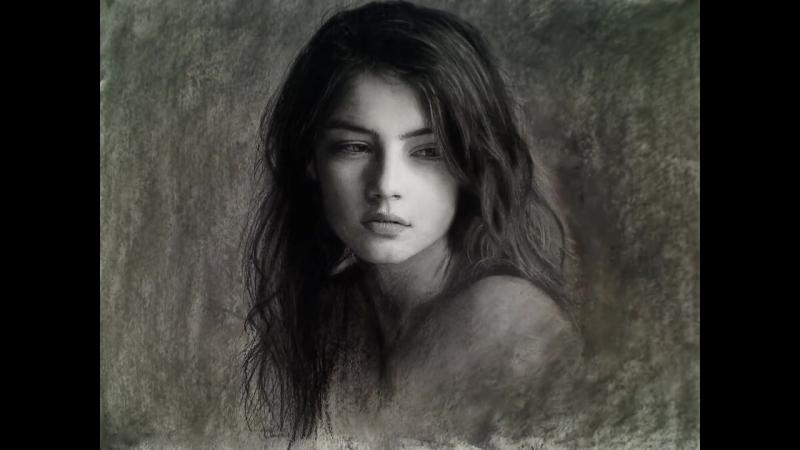 Beautiful Wistful Girl - Timelapse Art Portrait Video Art Drawing Video