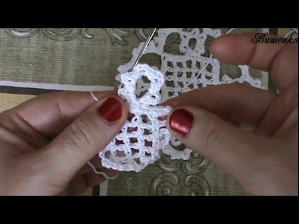Вязание крючком квадратного мотива с центром сеткой