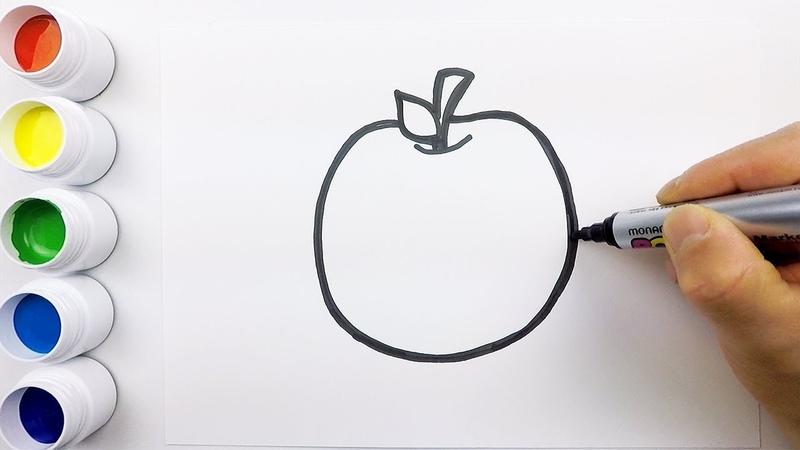 Fresh apple coloring drawing for kids ㅣ 싱싱한 사과 그리고 색칠하기