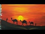 Desert Painting with Camels Easy Landscape Painting for Beginners Acrylic Painting Tutorial