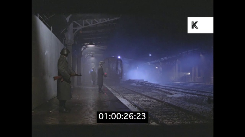 1980s Soviet East German Train Station, Cold War Recreation, HD