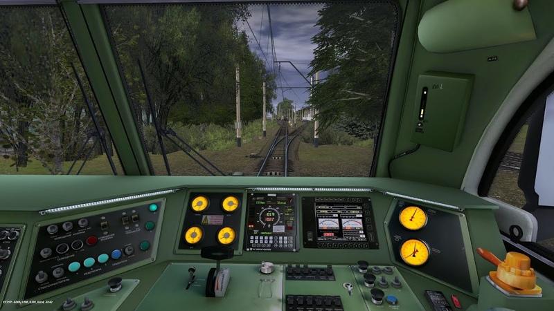 Поездка на 2ЭС6 -125 (зелёная кабина) с г рузовым поездом.карта Кумеровск-Заводская sU v2.0.2