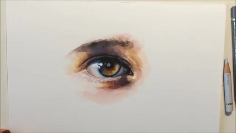 Mixed Media Demo with Watercolor and Colored Pencils Eye by Ch.Karron