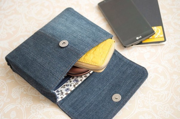Как сделать клатч из джинс