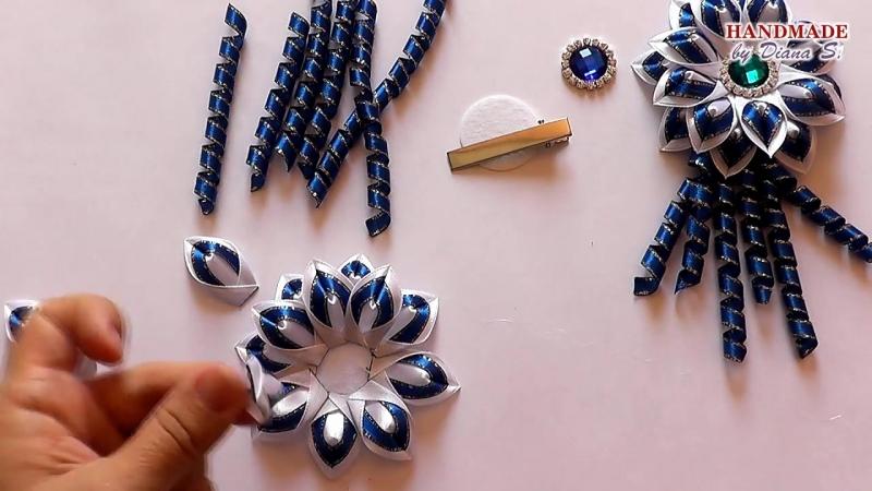 Школьные заколки со спиральками. Канзаши. МК._ DIY. School hair clips with spiral. Kanzashi