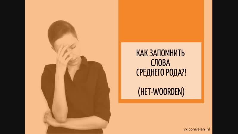 Как запомнить слова среднего рода! (het-woorden)