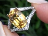 Certified VVS1 Clarity 6.21 Carat Yellow Sapphire &amp Diamond Ring Set In Solid 14K Gold Must Be Sold