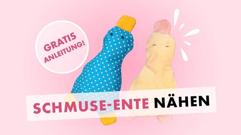 Schmuse-Ente aus Stoffrest nähen - gratis Schnittmuster und Gewinnspiel