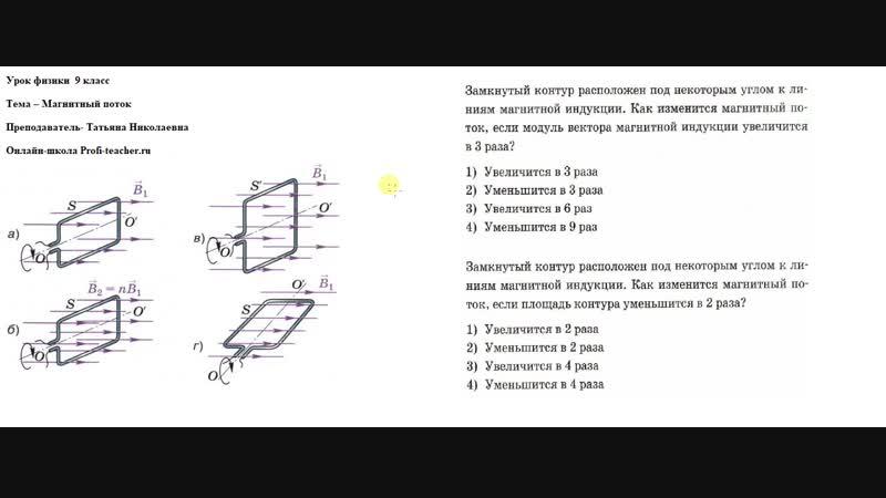 Физика. 9 класс. Магнитный поток. Татьяна Николаевна. Profi-Teacher.ru