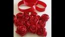 صناعة ورود الحب الحمراء بالساتان بالتفصي 160