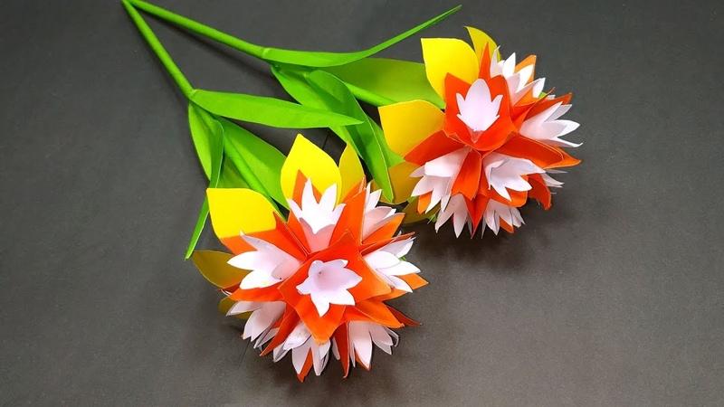 Handcraft Paper Stick Flower Making DIY Beautiful Handcraft with Paper Jarine's Crafty Creation