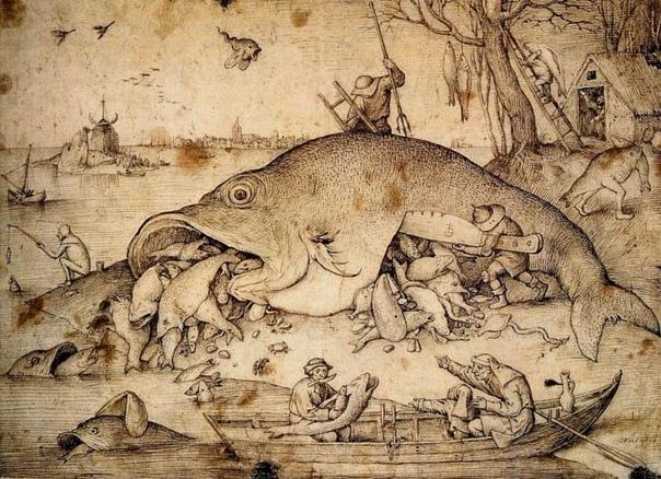 Иеронима Босха. Фламандская подстава. Как большие рыбы поедают малых.
