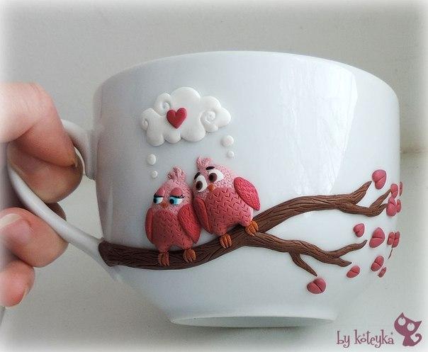 Декор чашки полимерной глиной своими рукамии… (1 фото) - картинка