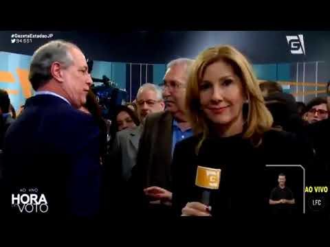 Candidato Ciro Gomes dançando após o debate da TV GAZETA neste domingo 9