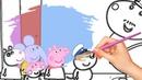 Раскраска Свинка Пеппа и Дени рисуем
