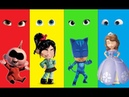 Wrong Heads Sofia the First vanellope and Pj masks the incredibles 2 Finger family Kids Rhymes song