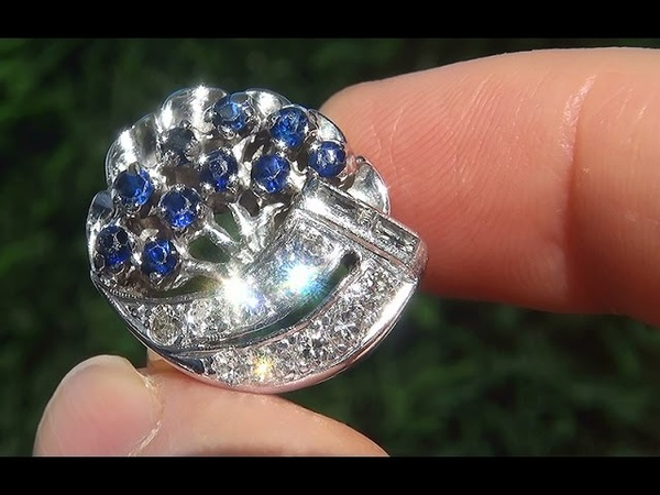 Certified Jewelry Estate Natural Blue Sapphire Diamond 14k Gold Cocktail Engagement Ring - C686