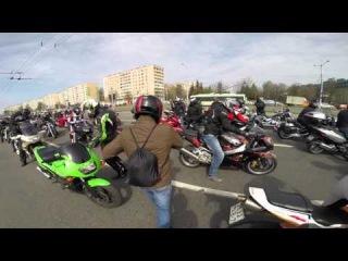 Открытие мотосезона Минск 2016 HD ( Построение колонны ! и начало движения )