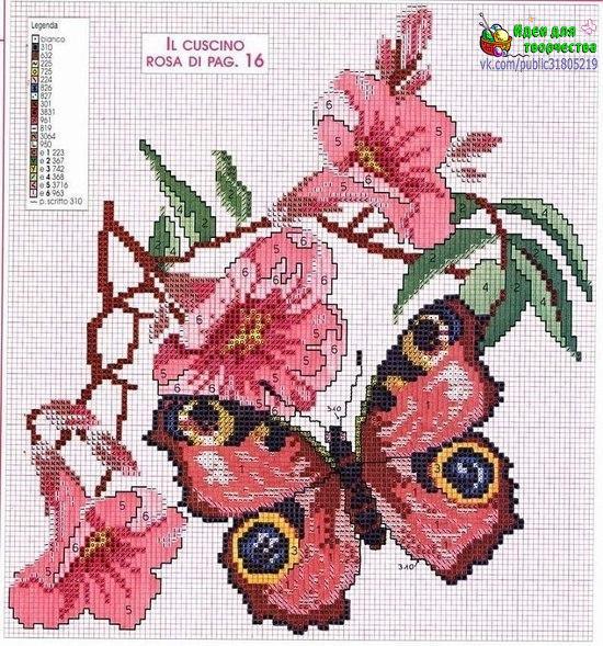 Бабочки. Вышивка крестиком. Схемы. (7 фото) - картинка