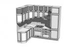 Белоснежная кухня классика, со встроенным холодильником