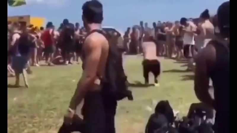 Hero dramatically steps in to save backflipping acrobat from landing headfirst on a pointy rock