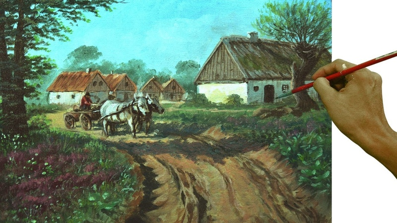 Acrylic Landscape Painting Tutorial | Village with Farmer and Cattle by JMLisondra
