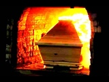 Крематорий вид изнутри, процесс сжигания тела.