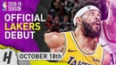 JaVale McGee Official Lakers Debut Full Highlights vs Trail Blazers 2018.10.18 - 13 Pts, 8 Reb